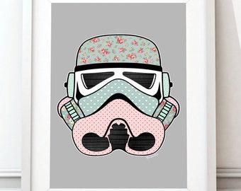 Stormtrooper, art poster Star Wars, Star Wars print, Vintage Stormtrooper, Cath Kidston, crèche de l'Art, film imprimé, cadeau Star Wars