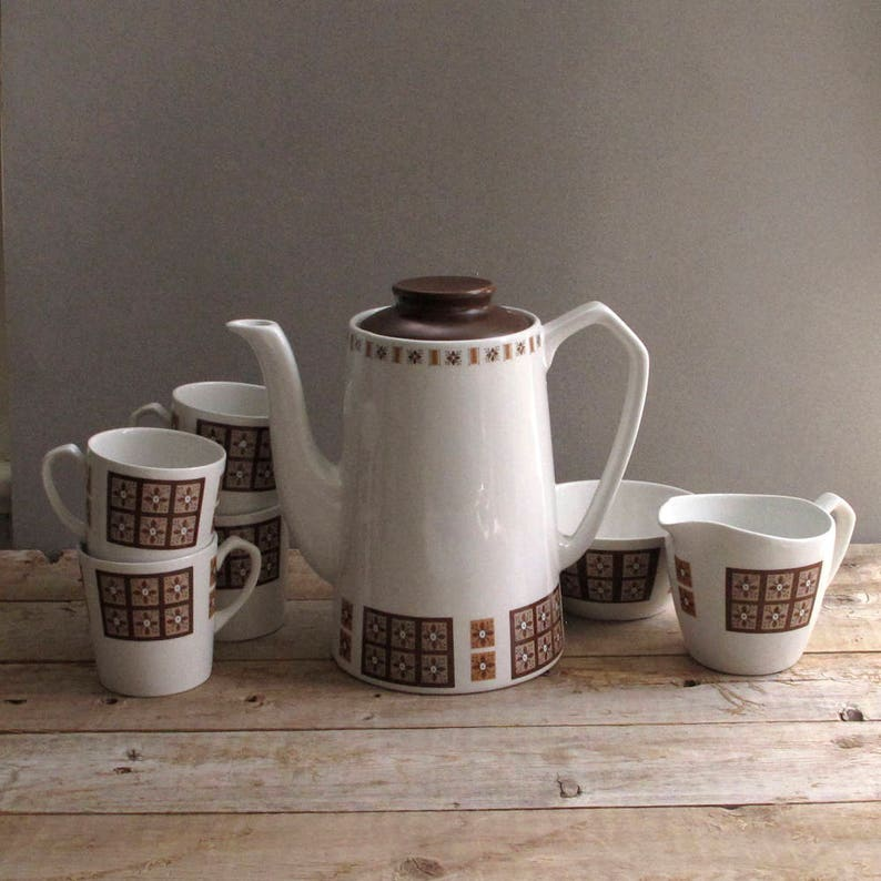 Alfred Meakin Coffee Set Old White Ironstone Pottery, Porcelain & Glass