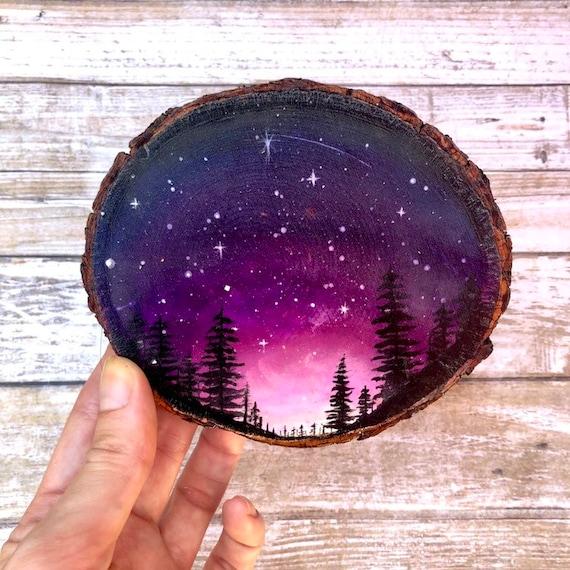 Galaxy Forest Night Sky Wood Slice Painting Wanderlust Decor Etsy