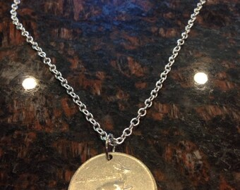 2 Rand Womens Necklace South African Coin Necklace Leather Cord 1989 Birth Year Mens Necklace Coin Pendant