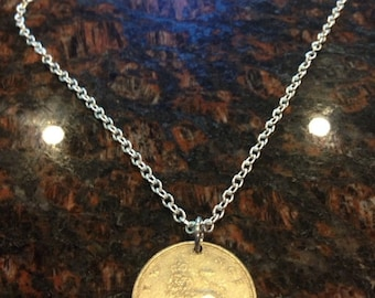 British 10 pence coin necklace- large series