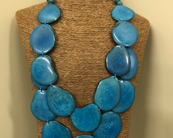 Tagua nut jewelry- bead necklace. Eco Friendly- Aqua Blue