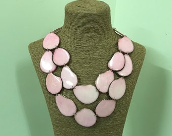 Tagua nut jewelry- bead necklace. Eco Friendly- Ligth Pink