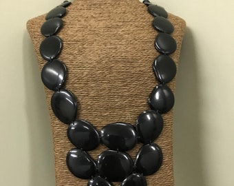 Tagua nut jewelry- bead necklace. Eco Friendly- Black