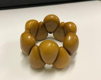 Tagua nut jewelry-  stretchy bead bracelet Mustard Yellow