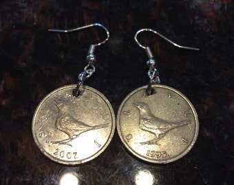 Croatia 1 kuna coin earrings