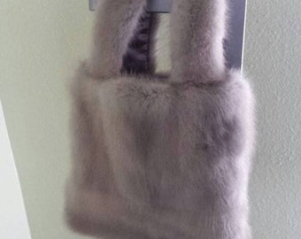 5446e7c792fc New handmade black mink fur clutch bag with brooch smalll
