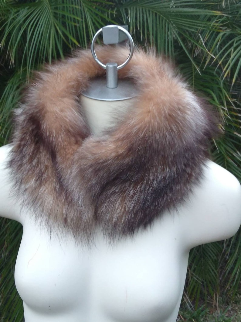 made in USA scarf reclaimed fur New crystal fox fur collar faux suede lining unique unsex handmade
