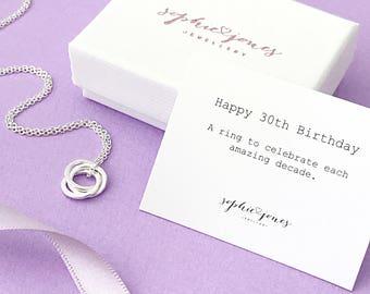 30th birthday silver necklace - 30th birthday gift - 30th gift for her - 30th birthday for daughter - 30th for friend
