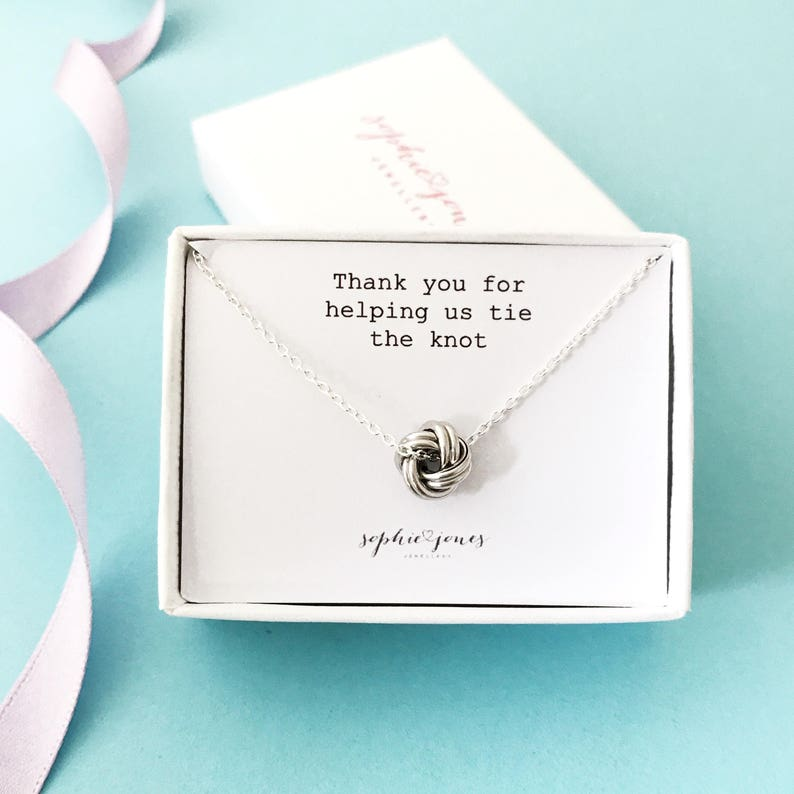 bridesmaid gift tie the knot Bridesmaid necklace Tie the knot Necklace