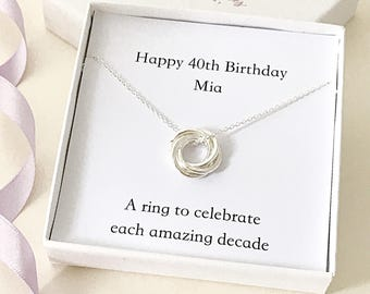 Personalised 40th Birthday Necklace - gift for 40th - 40th present - silver rings necklace