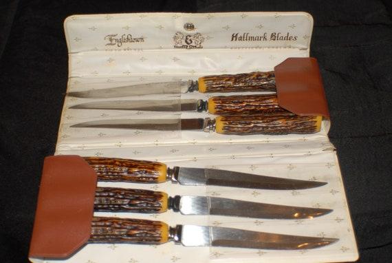 Antique Englishtown Hallmark Sheffield BladesSteak Knives England Set of 6