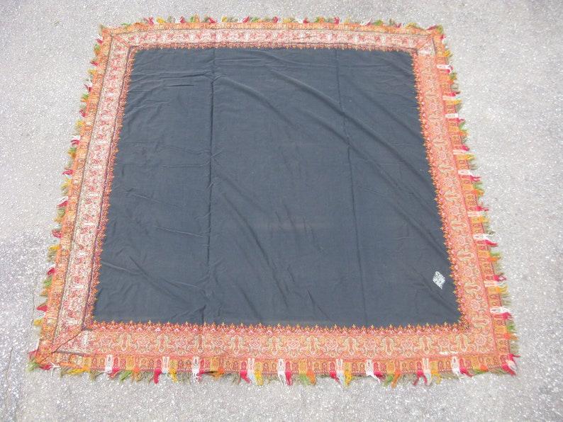 Antique French textile paisley shawl jacquard loom wool ca.1910 black 5.1x5.4ft