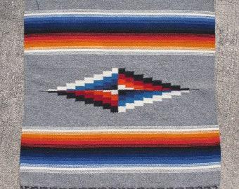 Vintage Chimayo rug / blanket Southwest eye dazzler hand woven wool 20x19.5in