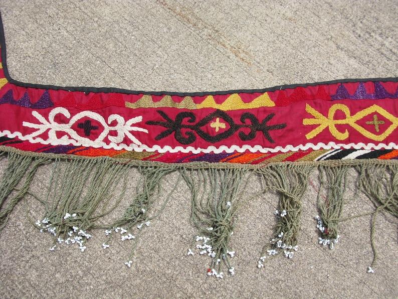 early 20thC suzani work red Antique Lakai embroidery segosh with glass beads Uzbekistan