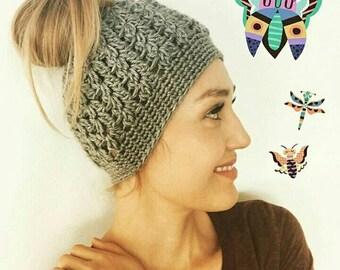 5ee74ea5bd2 Brown messy bun hat