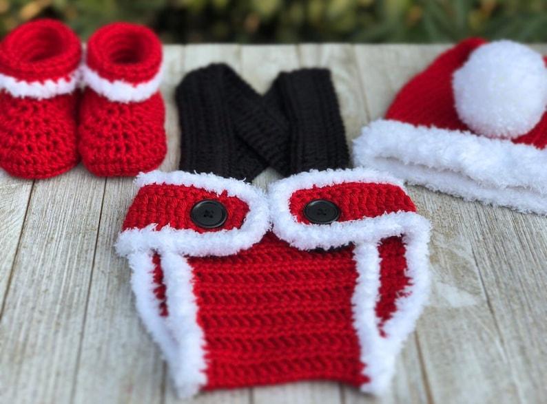 baby santa hat Christmas gift Christmas first outfit Christmas hat Santa Diaper Cover- Christmas Infant Crochet santa hat set Santa
