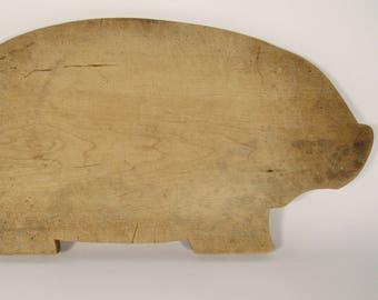 Vintage PIG Wooden Folk Art Cutting Board