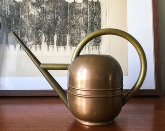 Ruth Gerth designed Art Deco 1930s copper watering can Brass and copper marked Chase Woman Designer