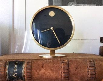 Pristine Howard Miller Solid Brass Museum Desk Clock Vintage Mid Century Modern George Nelson Germany Designer Object