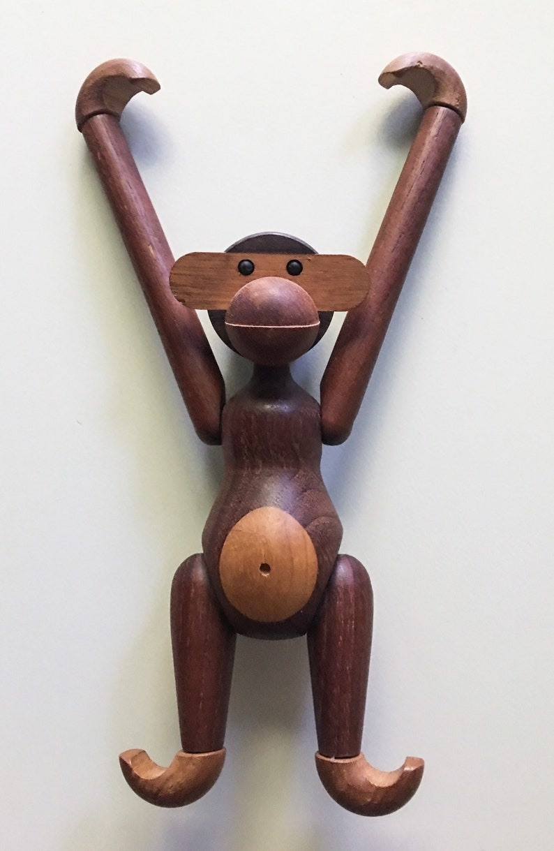 Iconic Articulated Monkey In Teak And Limba Wood By Kay Bojesen Denmark 1960s