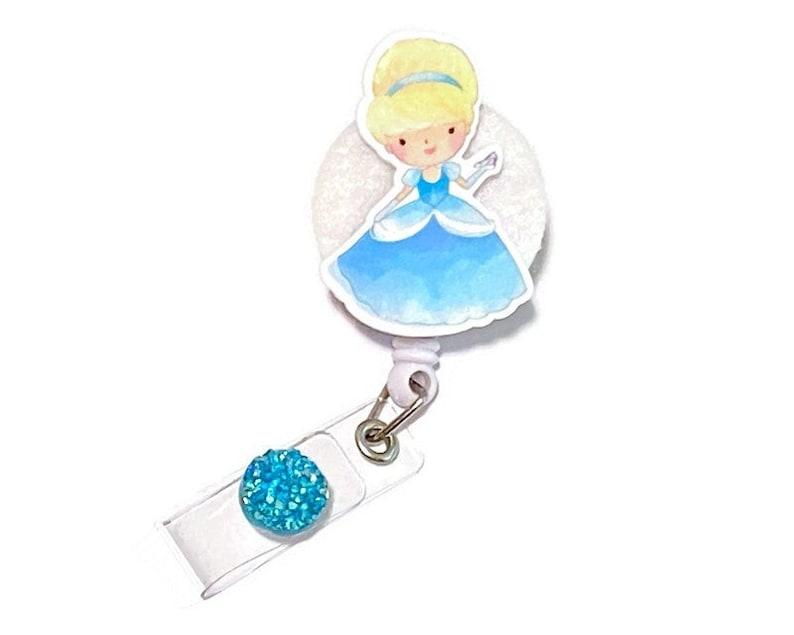 Resin Planar Badge Holder Nurse Badge Pull Children\u2019s Disney Cinderella Retractable ID Badge Reel Pediatric
