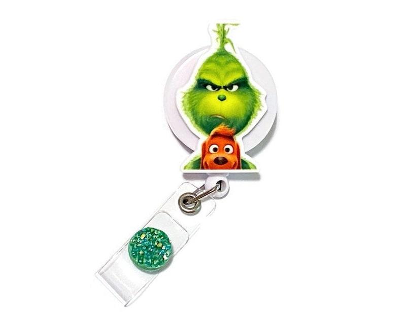 Planar Resin Badge Pull Stole Pediatric Grinch and Max Christmas Retractable ID Badge Holder Nurse Badge Holder