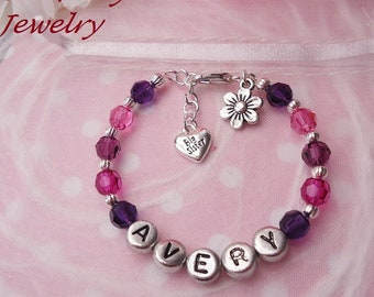 Personalised Ivory And Purple Sister Family Charm Bracelet Free Gift Bag