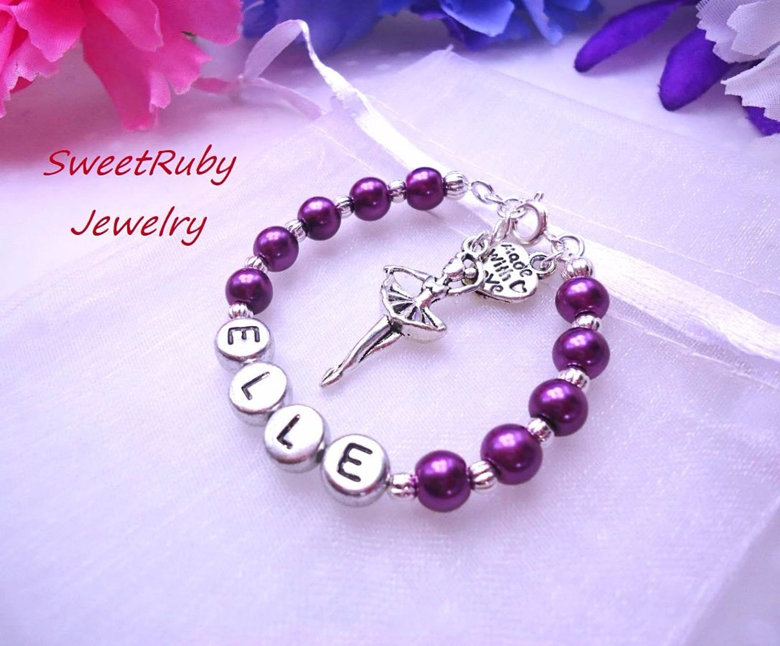 personalized dance/ballet shoes bracelet - ballerina, dance girl, dance recital - girls/kids/children- w/ an elegant gift box