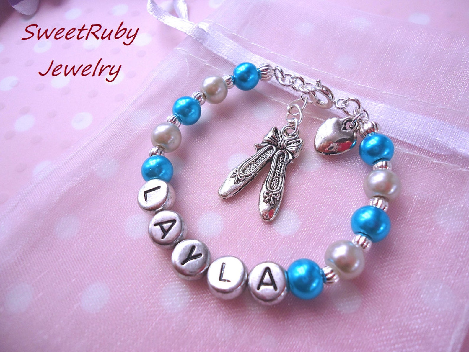 personalized/custom dance/ballet shoes bracelet-for girls/kids/children-valentine's day/birthday/party/holiday-with an elega