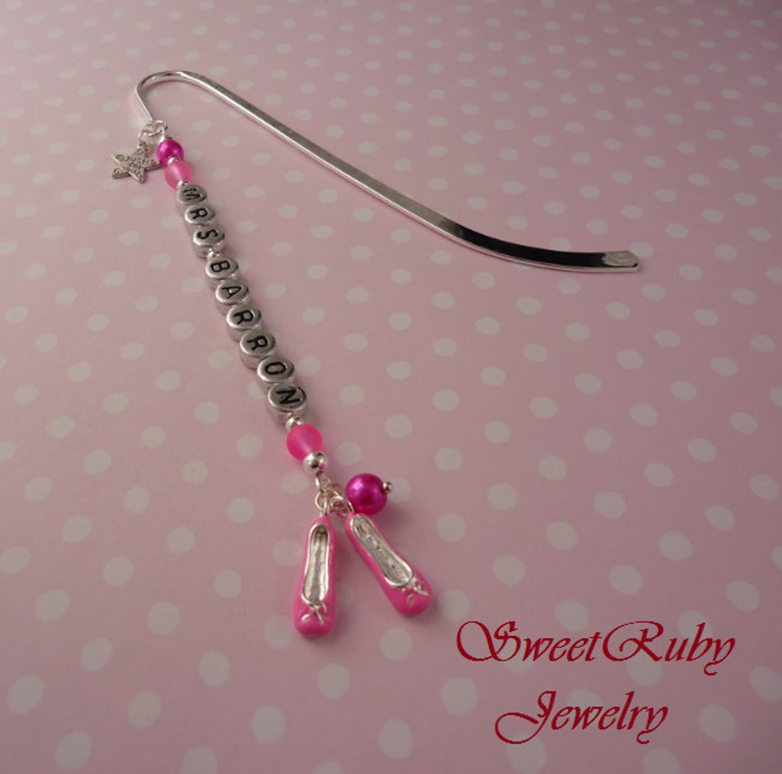 personalized pink ballet shoes bookmark 5