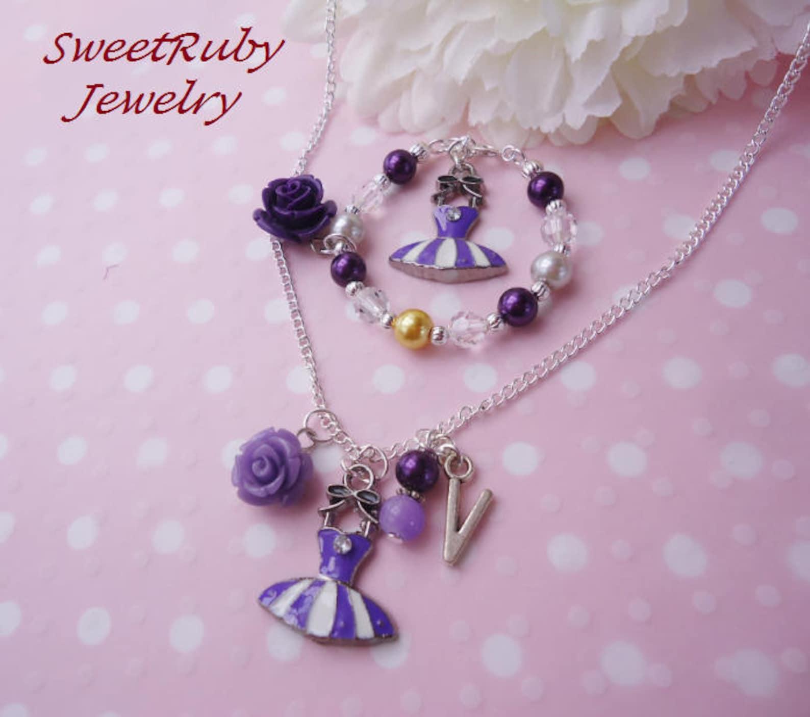 initial dance/ballet tutu bracelet & chain necklace set - blue, purple, green tutu, yellow shoes - dance performance - w/ a gift