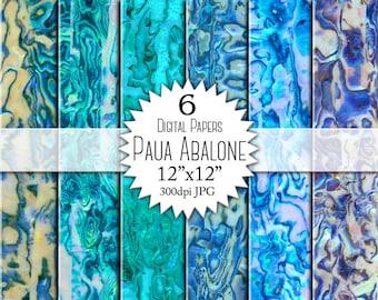 "Paper ""PAUA ABALONE"" for scrapbooking. Abalone shell texture, pattern. Blue, green, aqua, abalone digital paper pack."