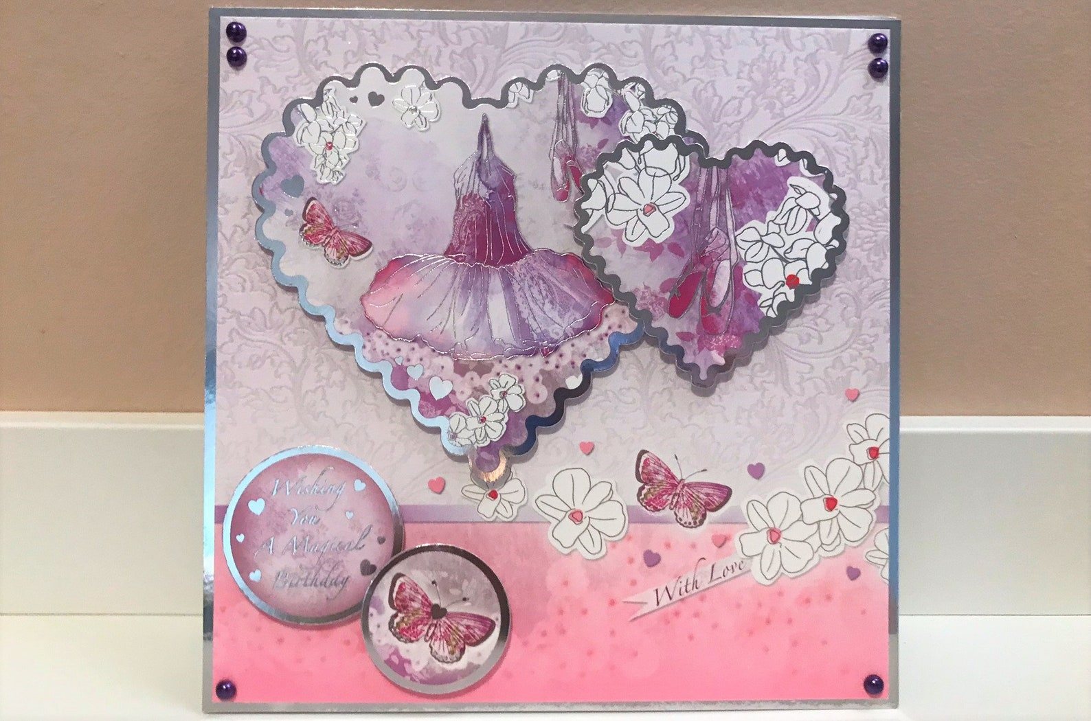wishing you a magical birthday - girl's birthday card, ballet card ballet shoes card purple card children's card, dance