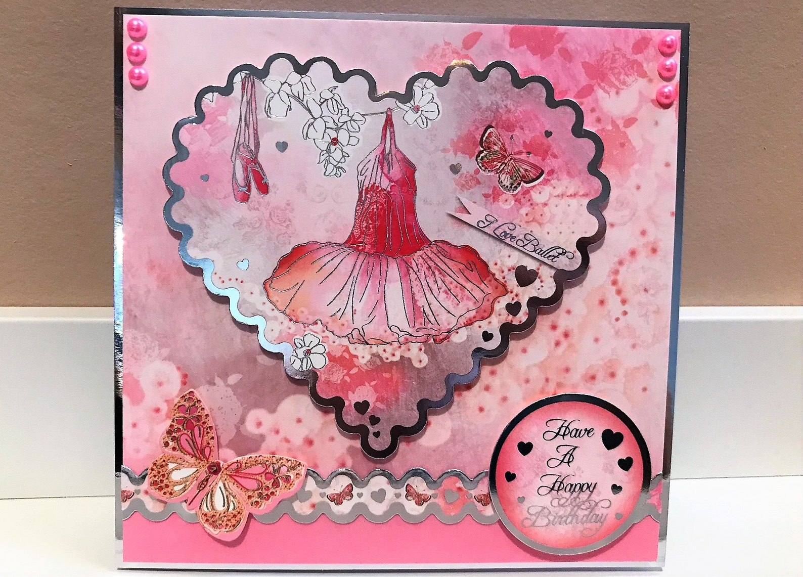 have a happy birthday - girl's birthday card, ballet card ballet shoes card pink card children's card, dance card,
