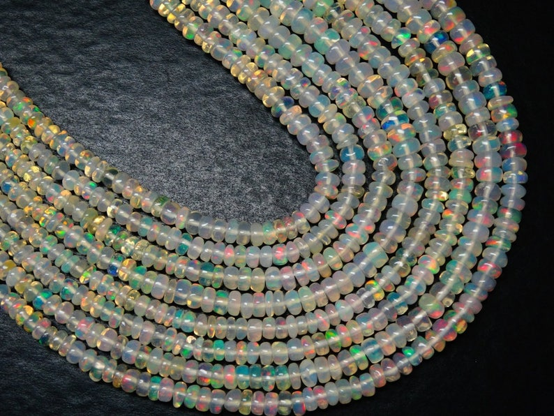 Ethiopian Opal Beads Cb#724 16 Inches Long Strand 3 mm to 5.5 mm Size Smooth Roundel Beads Natural ETHIOPIAN OPAL