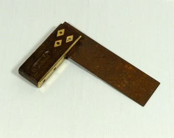 Brass inlaid try square tool
