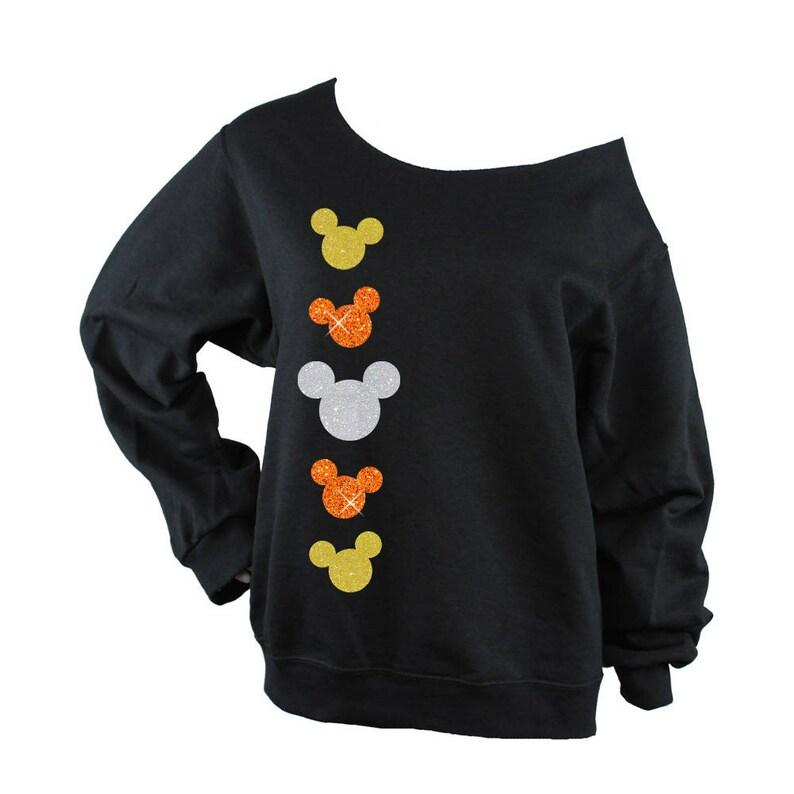 Disney Halloween Minnie Mouse Candy Corn RAW EDGE UNISEX off shoulder sweatshirt black, yellow and white glitter black shirt