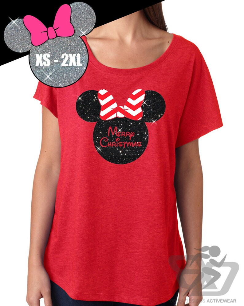 c743007f85b33c Disney Shirt GLITTER Merry Christmas Minnie Mouse    Womens