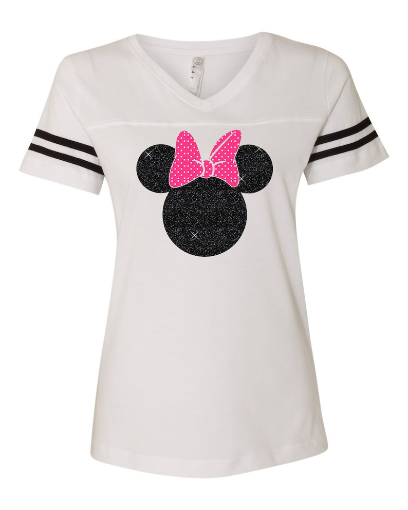 Minnie Mouse Shirt GLITTER Athletic Womens V-Neck Black  33b80aaa6