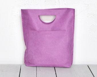 dff3335d6fa Roze Smile tas, Sweet Lila leren Shopper met geïntegreerde handvat, Violet  Handheld Midsize Shopper
