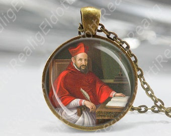 St Robert Southwell Religious Round Medal Silver Tone Pendant with Rhinestones