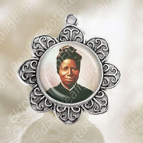 St Josephine Bakhita Medal Flower Shaped Silver Tone Catholic Jewelry