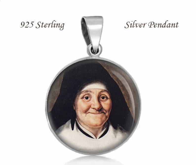 St Julie Billiart Patron Saint of sickness 925 Sterling Silver Round Pendant Catholic Medal