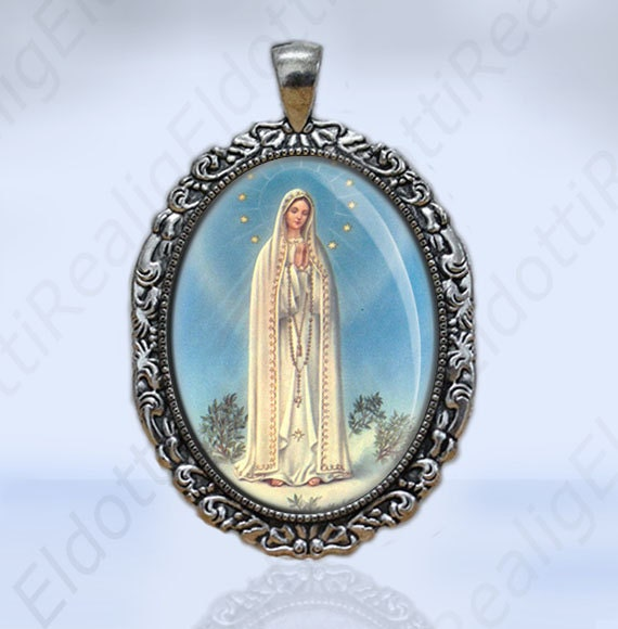 Our Lady of Fatima Christian Catholic Blue Colors Medal Oval Pendant  Religious Jewelry