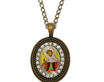 St. Juliana Of Lazarevo Oval Orthodox Necklace