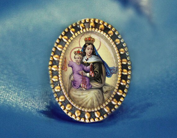 Our Lady of Mount Carmel Virgin Mary Brooch Catholic Broach Antique Gold Pin