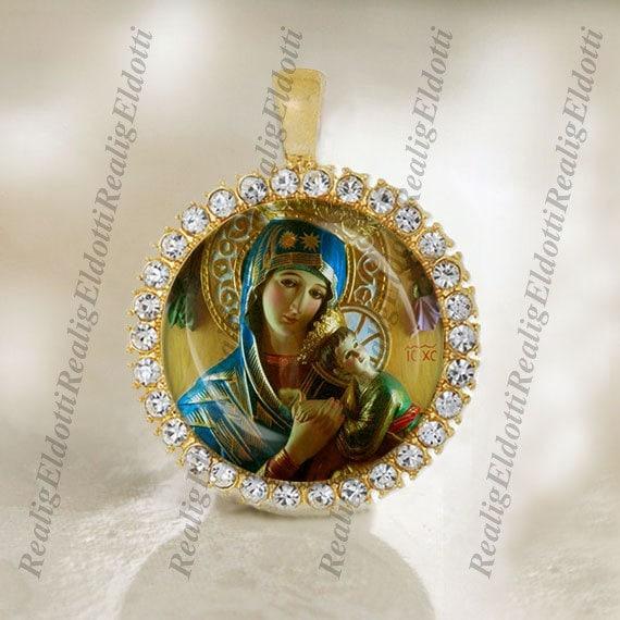 St Perpetua Religious Round Medal Silver Tone Pendant with Rhinestones