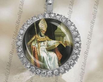 St Isidore of Seville Christian Patron Catholic Silver Tone Medal Pendant