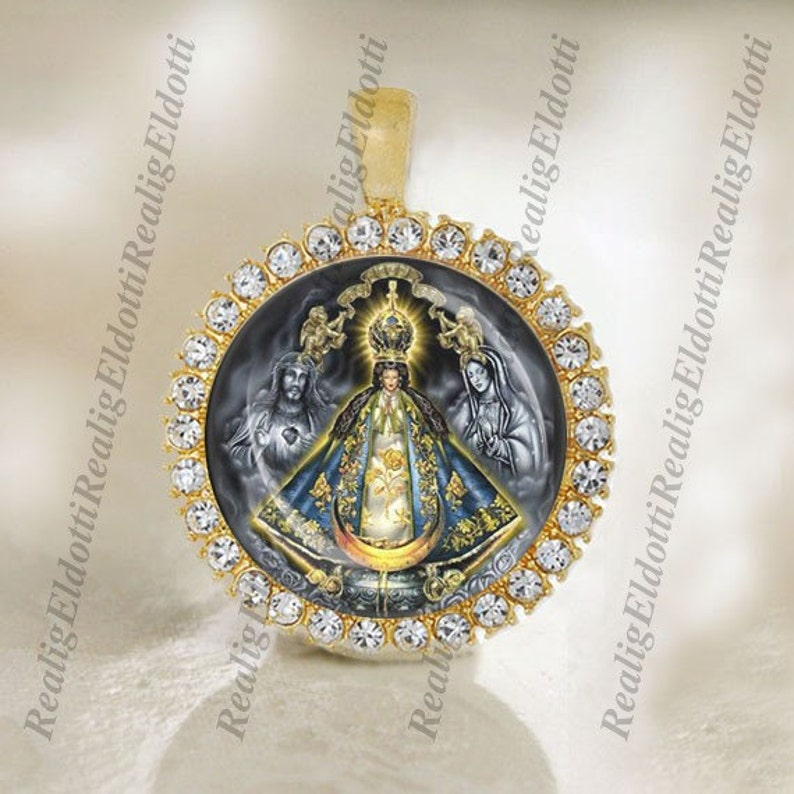 Our Lady of San Juan de los Lagos Catholic Gold Tone Medal Pendant  Charm Cabochon